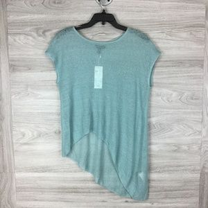 Eileen Fisher Blue Asymmetrical Sheer Hemp Top